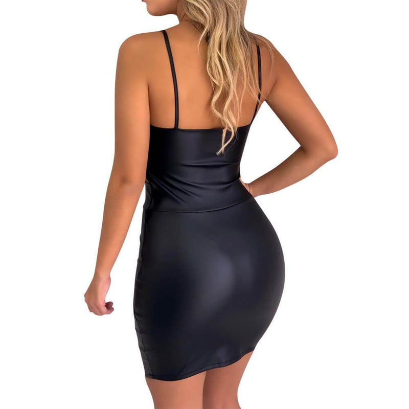Party Spaghetti Strap Leather Backless Bodycon Dress