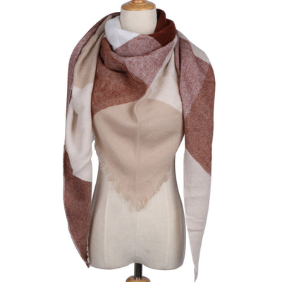 European Style Autumn/Winter Oversize Square Plaid Scarf Shawl