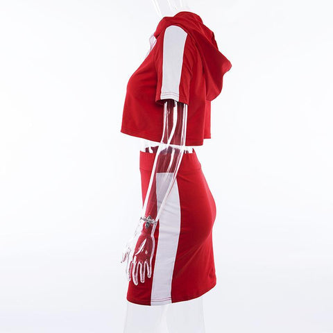 Patchwork Drawstring Hooded Crop Top with Short Skirts Two Pieces Sports Dress Set