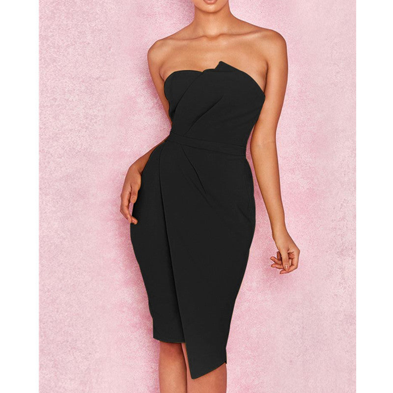 Strapless High Waist Solid Color Women Knee-length Dress