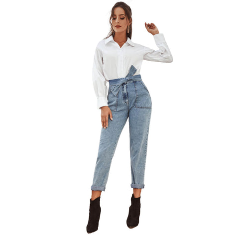 High Waist Sexy Blue Jeans Straps Pants