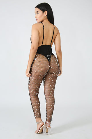 Sexy Beadings Transparent See Through Women 9/10 Skinny Pants