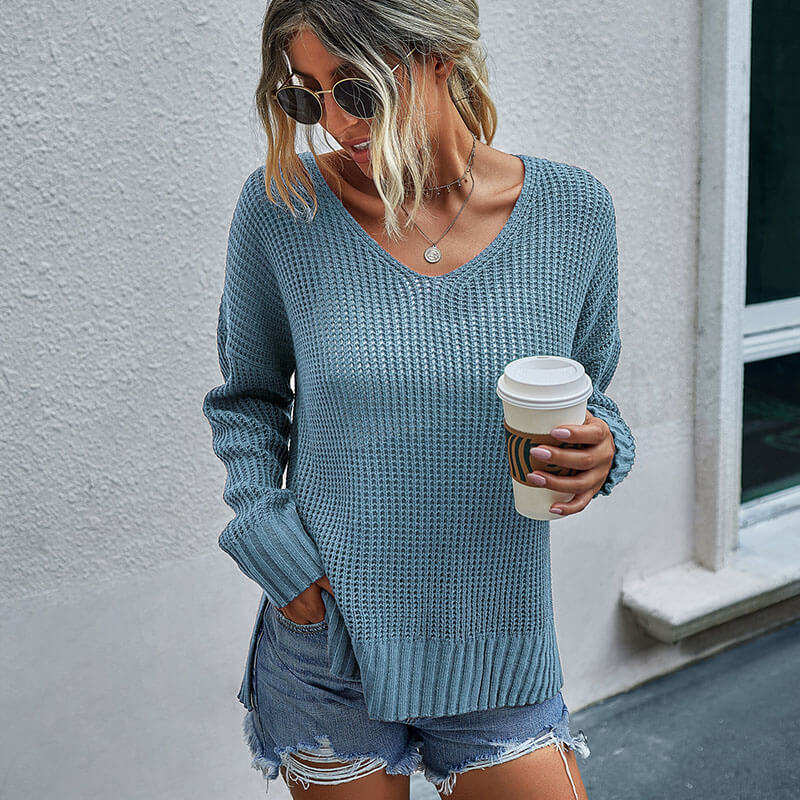 Low Hight V Neck Ribbed Sweater