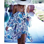 Spaghetti Straps Bear Shoulder Backless Print Tee Length Dress