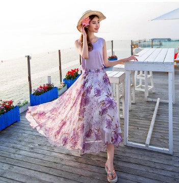 Big Hemline High Waist Floral Print Loose Long Chiffon Beach Skirt