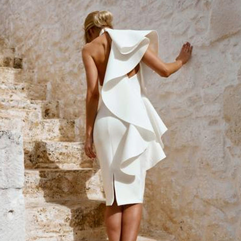 Ruffles High Neck Backless Women Knee-length White Party Dress
