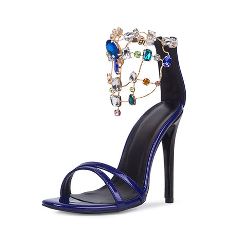 Luxurious Purple Rhinestone Ankle Wrap Heel Sandals with Plus Size - Meet Yours Fashion - 4