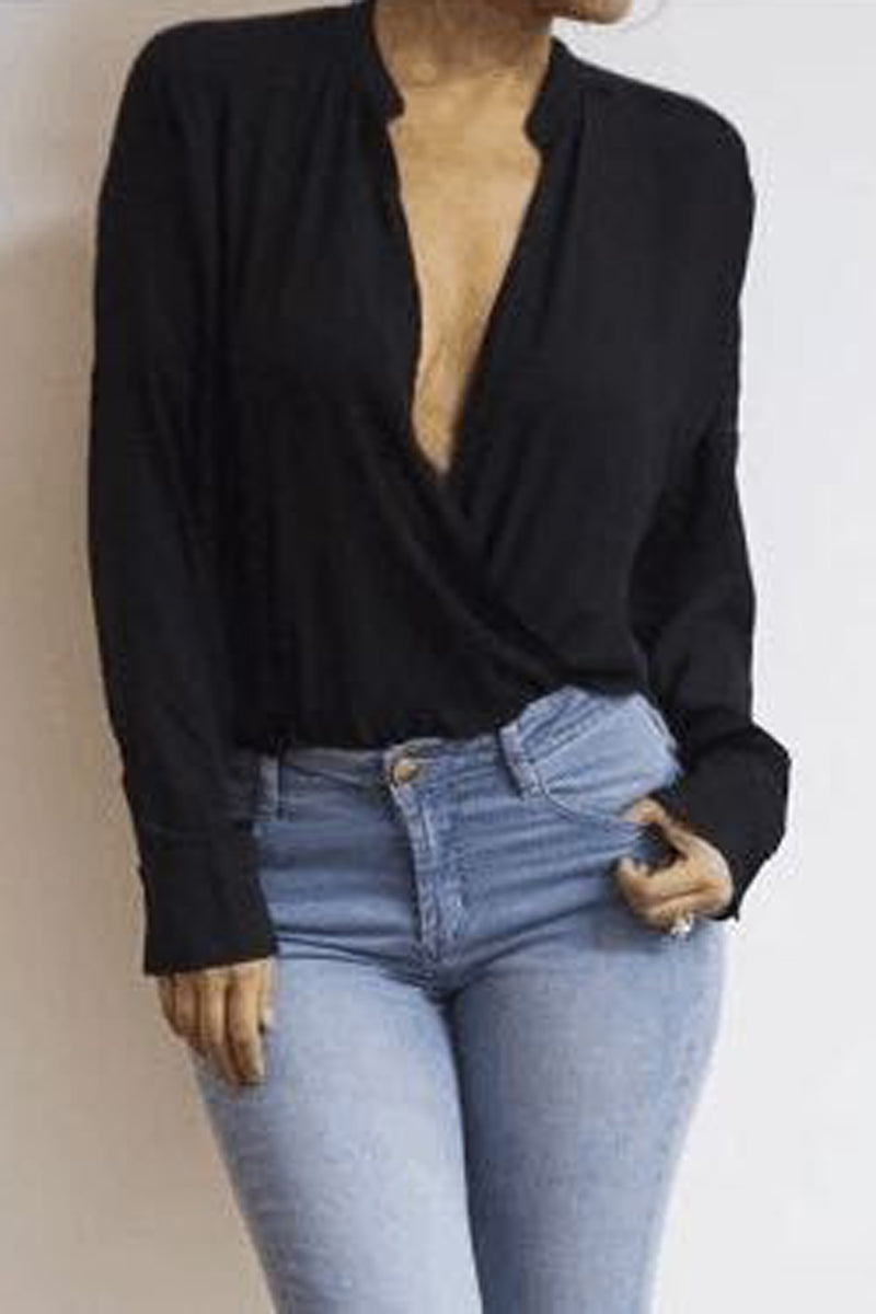 Pure Color Deep V-neck High Neck Long Sleeves Blouse
