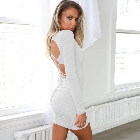 Strappy Backless Short Bodycon Dress