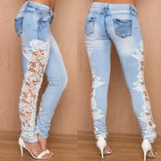 Lace Patchwork Straight Low Waist Sexy Jeans