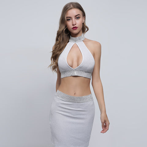 Pure Color Backless Crop Top with Short Skirt Two Pieces Dress Set