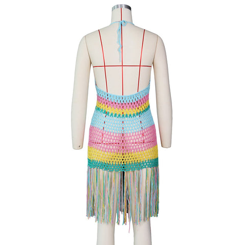 Sexy Hand Crocheted Cut Out Tassel Smock Dress