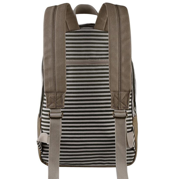 2016 Classical Stripe Lace Canvas Backpack - Meet Yours Fashion - 7