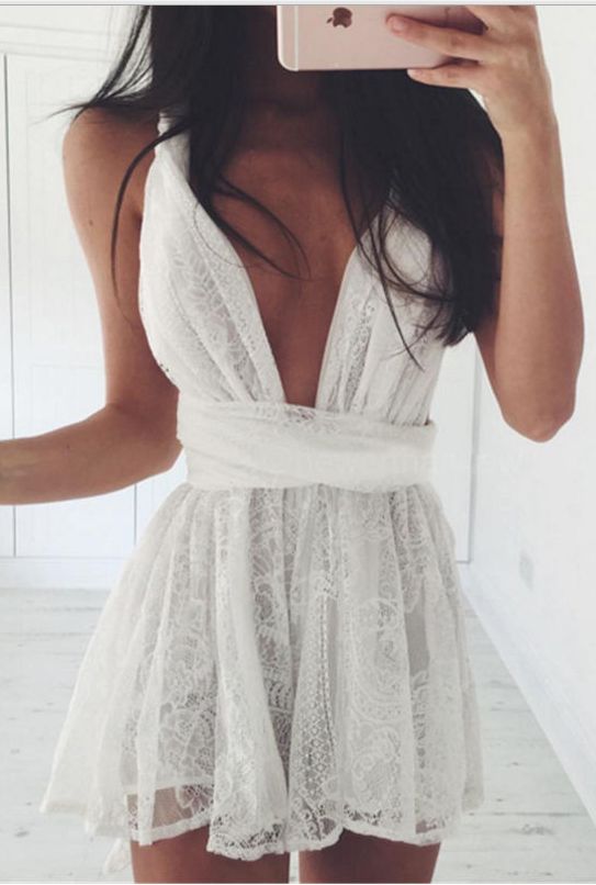 Backless Spaghetti Strap White Lace Back Cross V-neck Short Dress - Meet Yours Fashion - 2