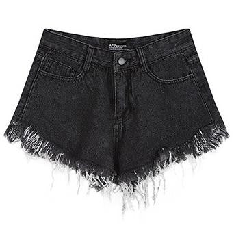 High Waist Tassel Wide Leg Denim Shorts
