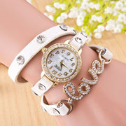 Cryastal Love Rivet Belt Watch