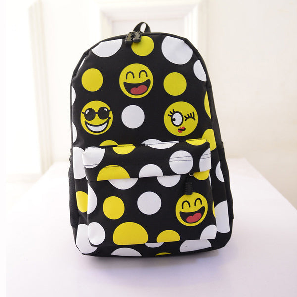 Leisure Smiling Face Emoji Print Female Canvas Backpack Bag