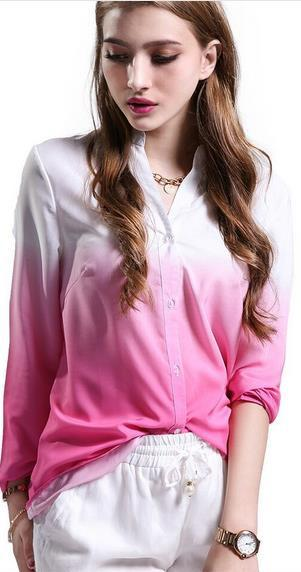 Deep V-neck Long Sleeves Gradually Changing Color Blouse - Meet Yours Fashion - 2
