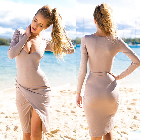 Low-cut Bodycon Irregular Pure Color Sexy Dress - Meet Yours Fashion - 2