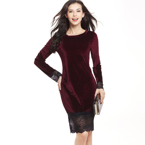 Long Sleeve Lace Patchwork Penuche Knee-length Dress