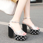 Summer Leather Pearl Platform Chunky Heel Sandals