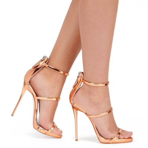 Simple Open Toe High Heel Zipper Sandals