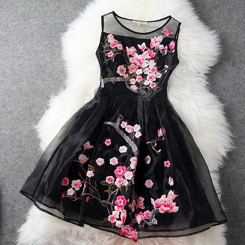 Charming Flower Embroidery Short Skater Dress - MeetYoursFashion - 1