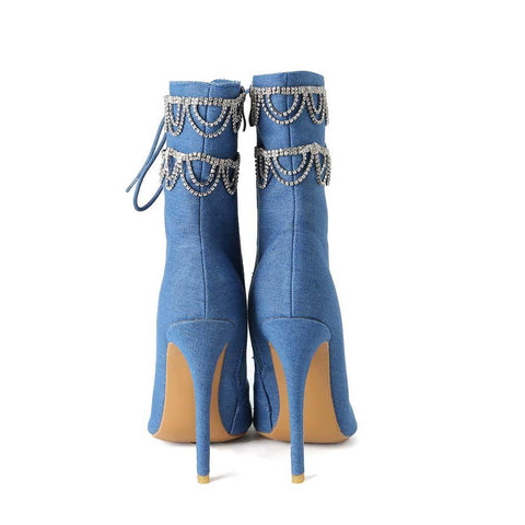 Blue Chain Rhinestone Closed Toe Cowboy Sandals