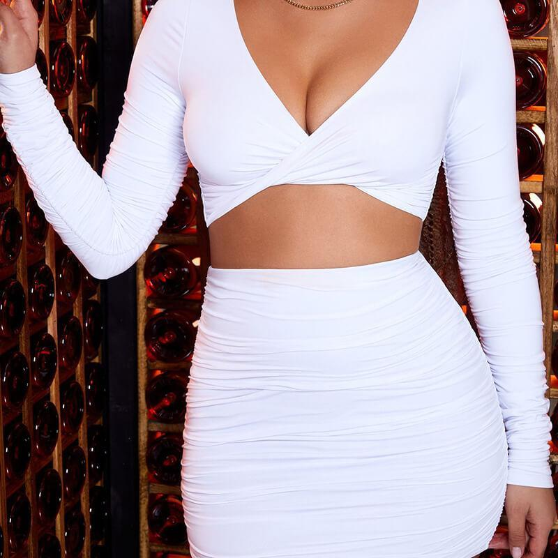 Front Twist Crop Top High Waist Short Skirt Set