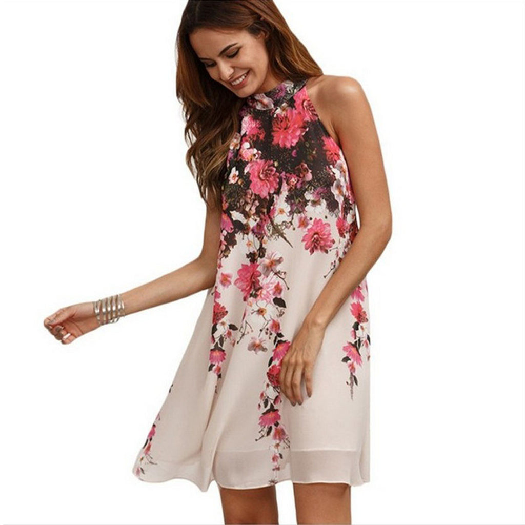 Bear Shoulder Flower Print Loose Short Dress