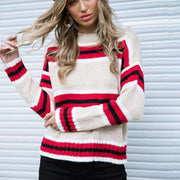 Crew Neck Stripes Women Casual Pullover Sweater