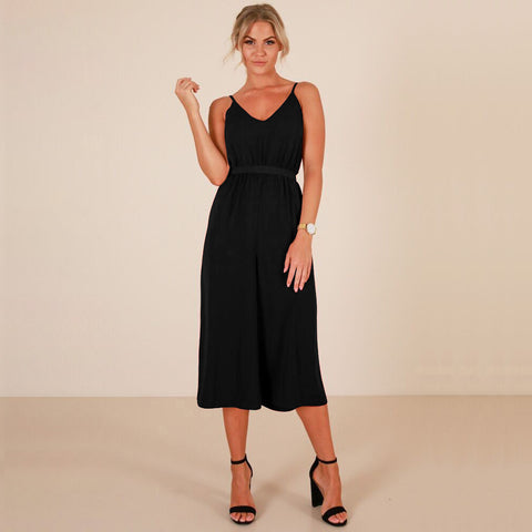 Spaghetti Straps Loose V-neck High Waist Knee-length Jumpsuits
