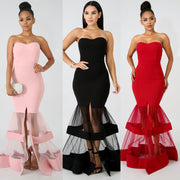 Strapless Mesh Patchwork Split Long Mermaid Solid Color Women Long Dress