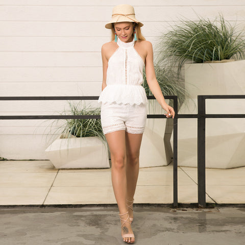 White Lace Halter Backless Tassels Romper