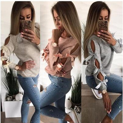 Straps Bowknot Hollow Out Women Solid Color Slim Sweater