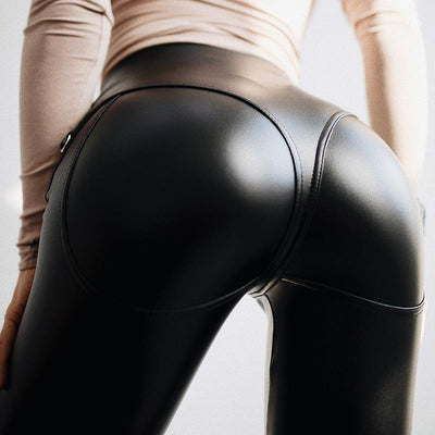PU Solid Black Color Zipper Women Skinny Legging