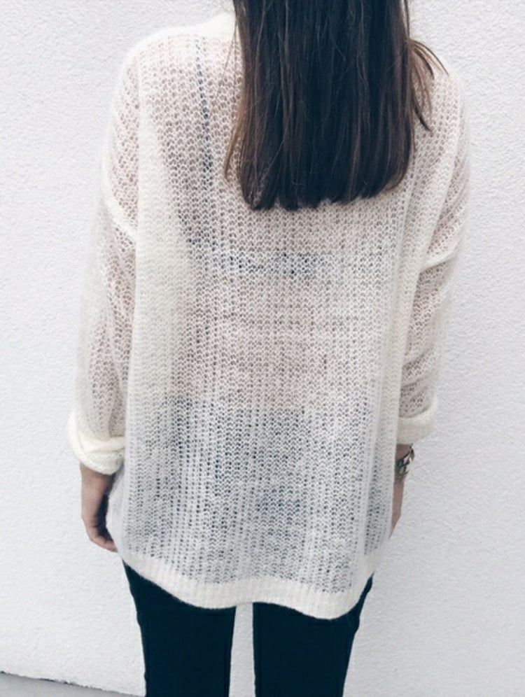 Deep V-neck Loose Thin Long Women Pullover Sweaters