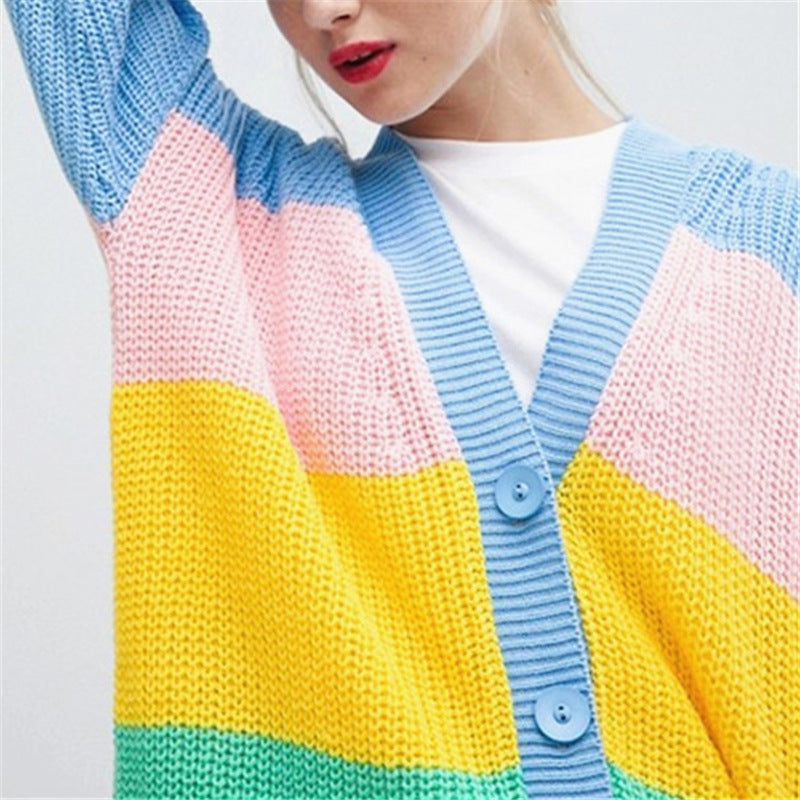 Rainbow Stripe Color Patchwork Buttons Long Oversized Women Cardigan