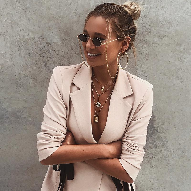 V-neck Lace Up Women Slim Pink Blazer