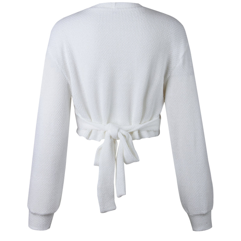 V-neck Long Bishop Sleeves Women Pullover White Wrapped Cropped Sweater