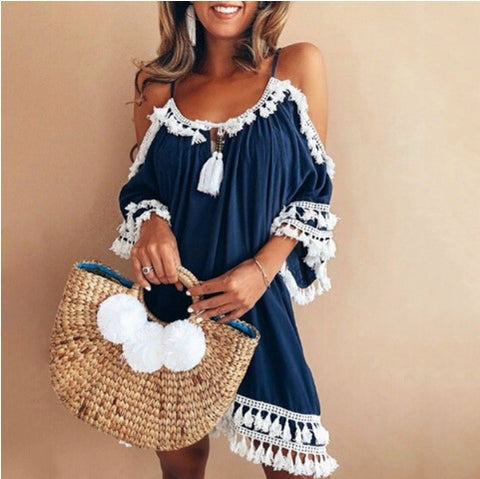 Bare Shoulder Tassels Scoop Women Loose Short Dress