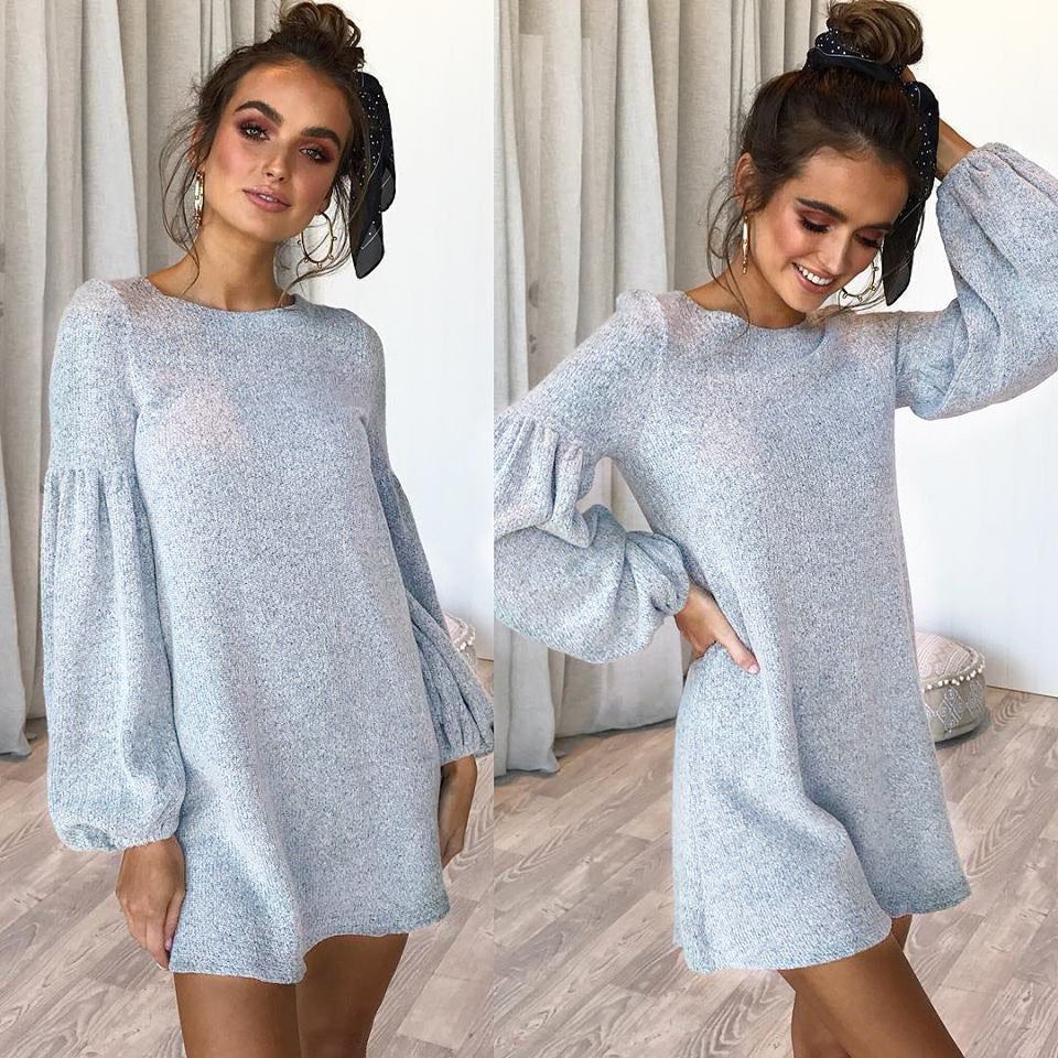 2fb96dca91d Crew Neck Loose Long Bishop Sleeves Pullover OVersized Sweater Dress ...