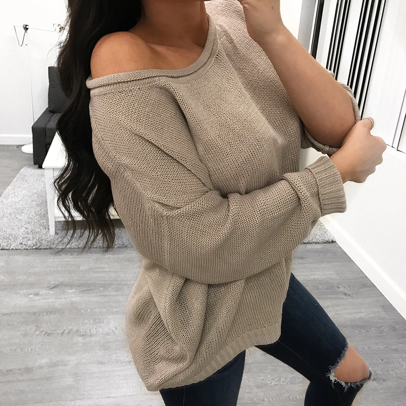 Crew Neck Solid Color Loose Pullover Women Sweaters