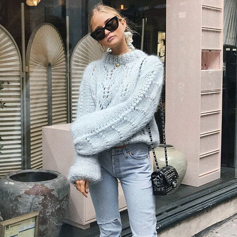 Crew Neck Hollow Out Knit Long Bishop Lantern Sleeves Chunky Women Sweater