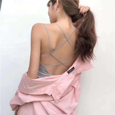 Backless Spaghetti Strap Pure Color Sleeveless Short Tank Camicose Crop Top