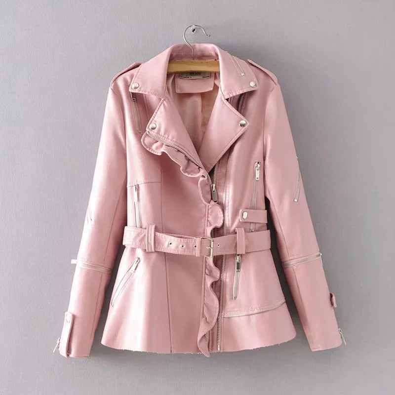 Lapel Solid Color Zippers Women Slim PU Jacket with Belt