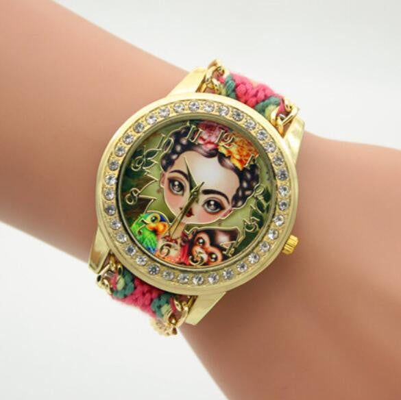 Beauty Girl Print Knitting Wool Strap Watch