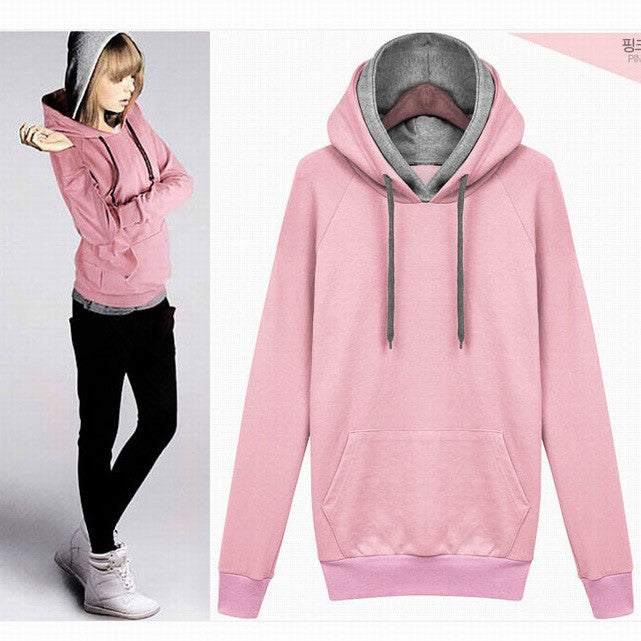 Splicing Pure Color Pullover Slim Hoodie - Meet Yours Fashion - 2