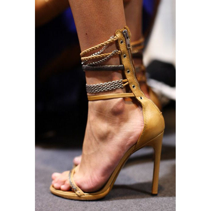 Ankle Wrap Open Toe Back Zipper Stiletto High Heels Sandals