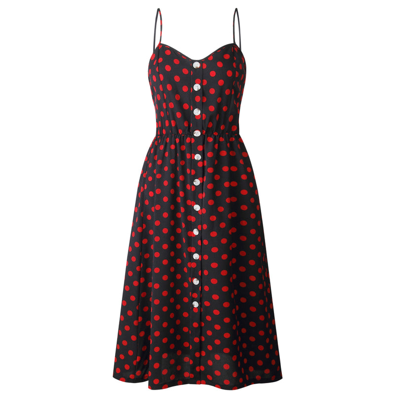 Polka Dot Spaghetti Straps Buttons High Waist Women A-line Tee-length Dress